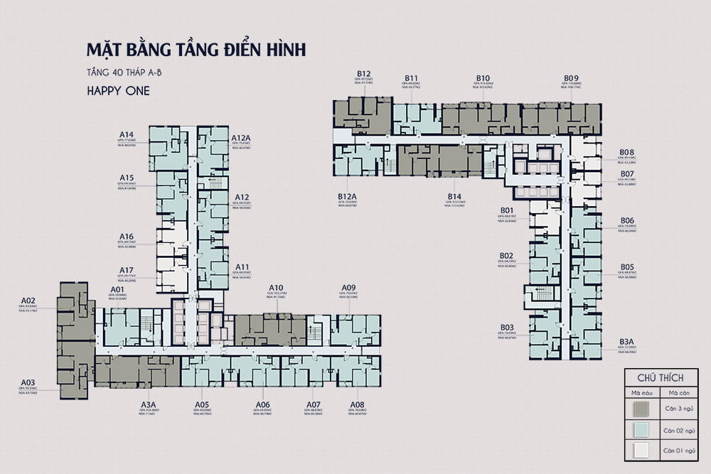Mặt bằng tầng 40 - Happy One Central