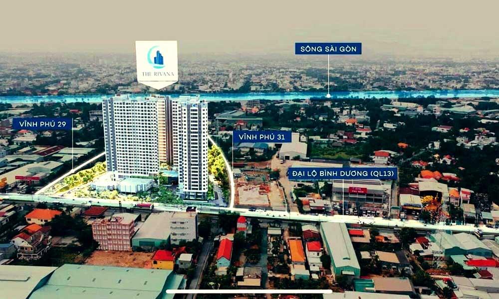 Vị trí thực tế dự án The Rivana Thuận An Bình Dương