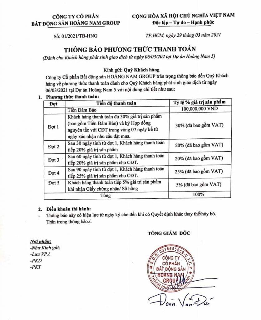 Phương thức thanh toán dự án Khu nhà ở thương mại Hoàng Nam 5