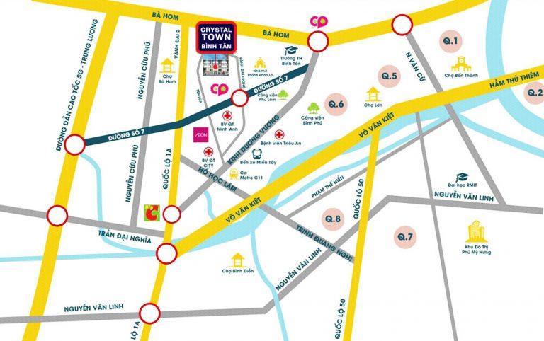 Vị trí dự án nhà phố Bình Tân Crystal Town