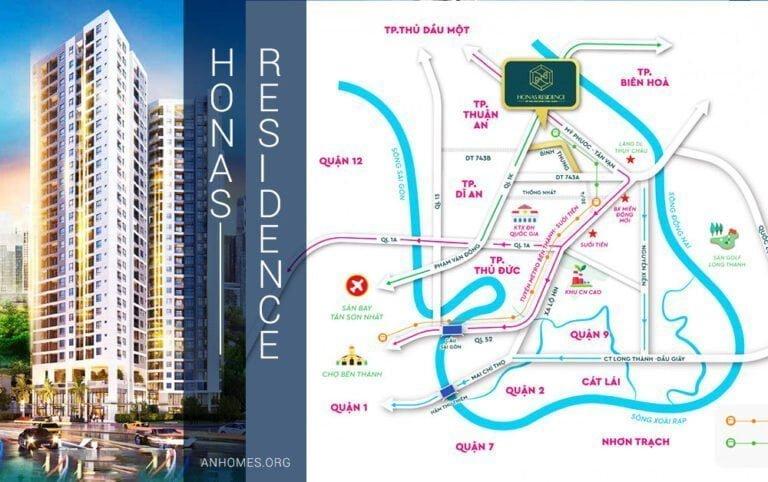 Sơ đồ vị trí dự án căn hộ chung cư Honas